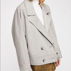 Free People Grey Bella Dolman Wool Coat